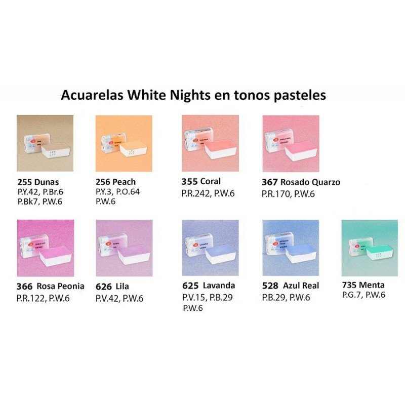 SET 9 TUBOS COLORES PASTEL ACUARELAS WHITE NIGHTS