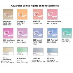 SET 18 COLORES PASTEL ACUARELAS WHITE NIGHTS