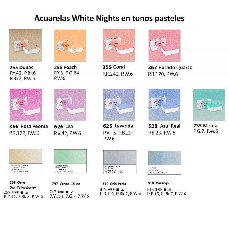 SET 9 COLORES PASTEL ACUARELAS WHITE NIGHTS