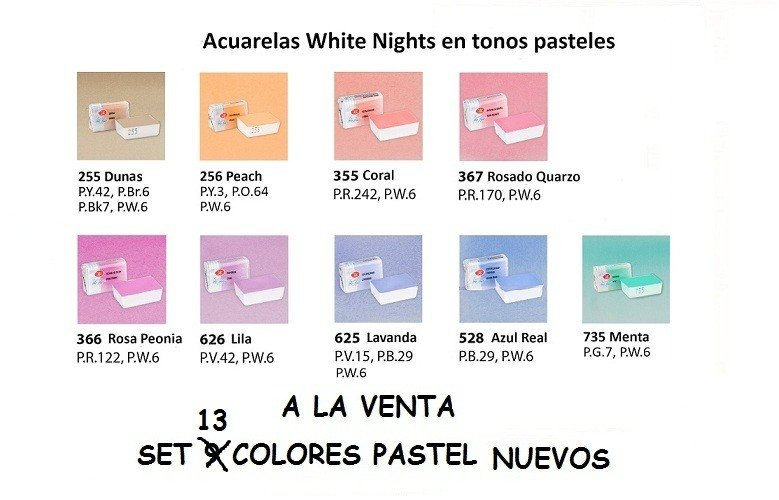 Set 13 colores pastel Acuarelas White Nights